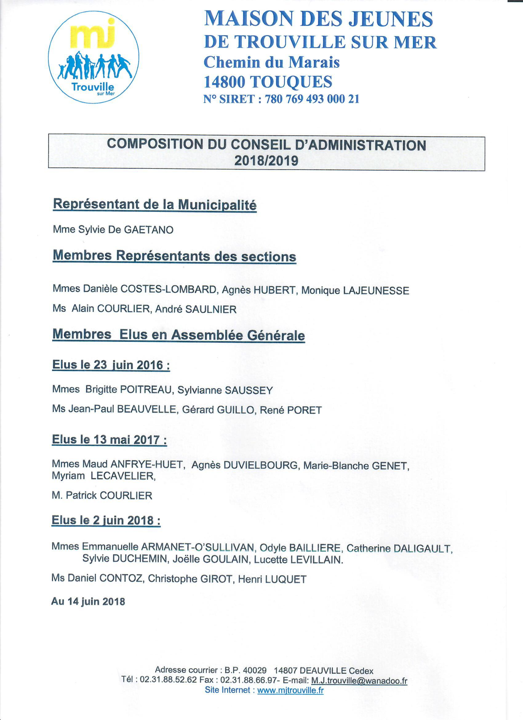 conseil administration 2018-2019